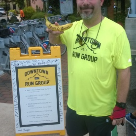 20171014-Adam in his not so serious BIG DEAL Banana pose after running the first 10 miler of his life