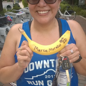 20171014- Marcie with her 20 miler BIG DEAL Banana after running 20 for the first time in her life - and she is still smiling because it really is a BIG DEAL