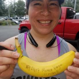 20171021-Monica V with her BIG DEAL Banana after her first double digit run of her life. - Way to Go