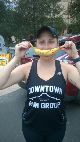 20171104-Allison with her BIG DEAL BANANA after completing her 1st 20 miler a couple of weeks ago