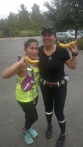 20171104-Becky M and Yvonne L proudly shows off her BIG DEAL BANANAS after completing a 20 mile training run for the first time of their lives