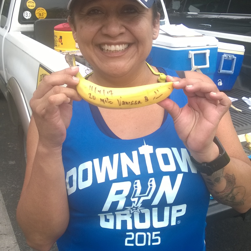20171104-Vanessa B with her BIG DEAL BANANA after completing the first ever 20+ mile run of her life